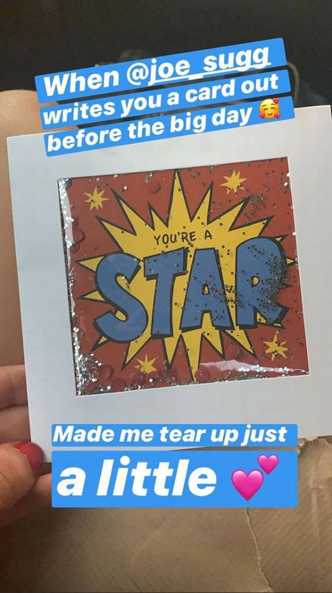 Joe Sugg Gives Diane Buswell Good Luck Card