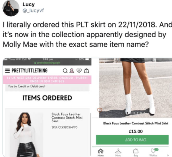 Molly-Mae PLT collection branded 'fake'