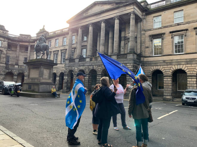 Protesters outside Court of Session in Edinburgh