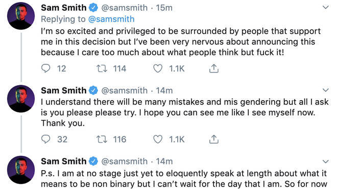 Sam Smith tweets about changing their pronouns.