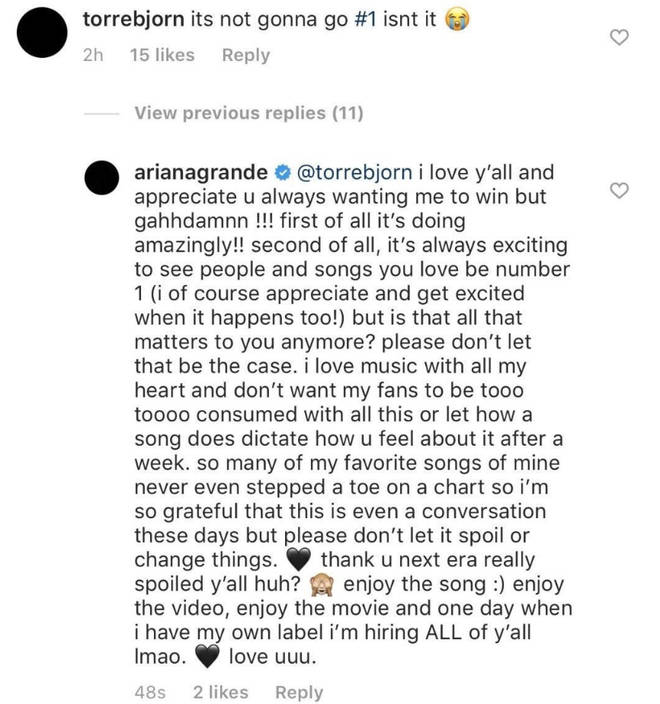 Ariana Grande said she appreciates fans 'always wanting' her to win.