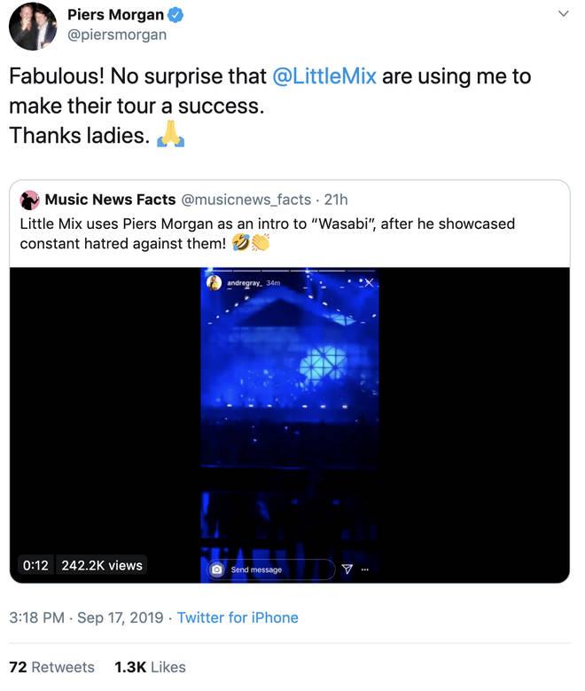 Piers Morgans responds to Little Mix