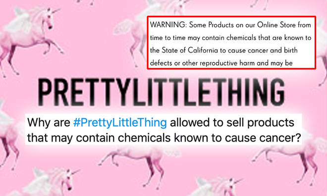 It's not just PrettyLittleThing who have to declare a cancer warning on their site