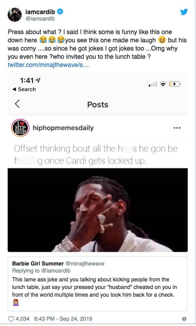 Cardi B claps back at trolls