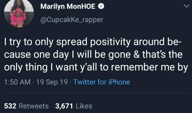 One of CupcakKe's last tweets before deactivating her socials.