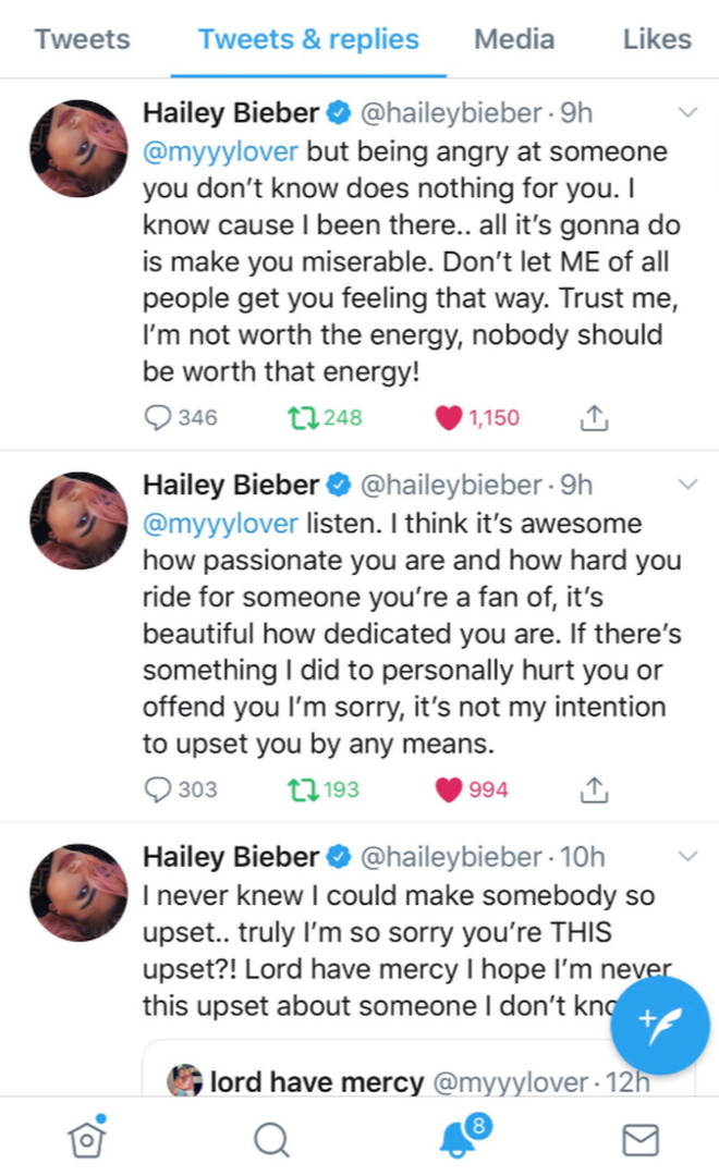 Hailey Baldwin has since deleted the tweets