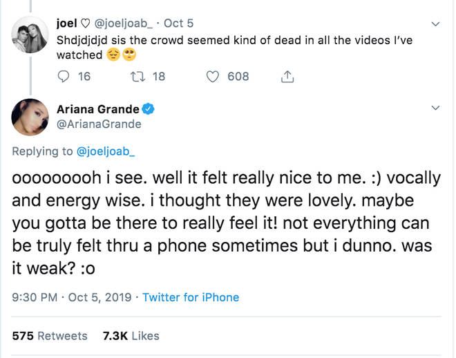 Fans chat to Ariana Grande about her European Sweetener shows