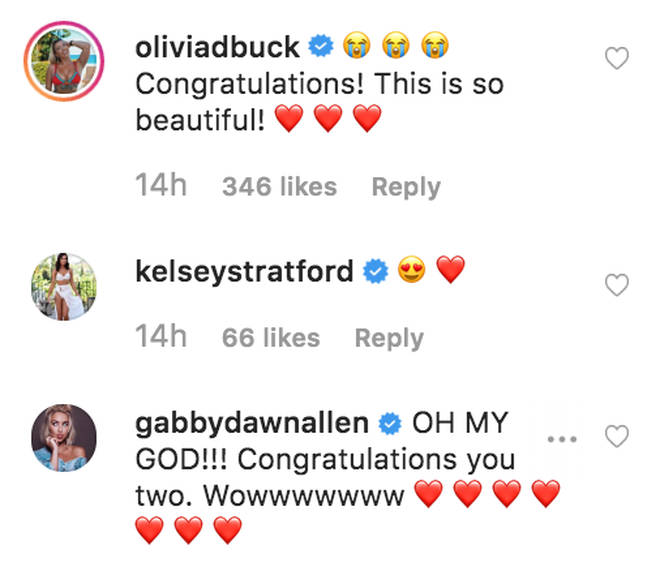 Olivia's Love Island co-stars rush to congratulate her on her engagement