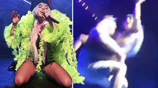 Lady Gaga fell off the stage during her Las Vegas show