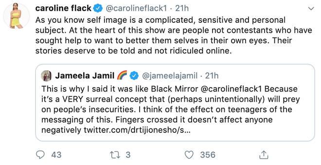 Caroline Flack responded to Jameela Jamil's tweet