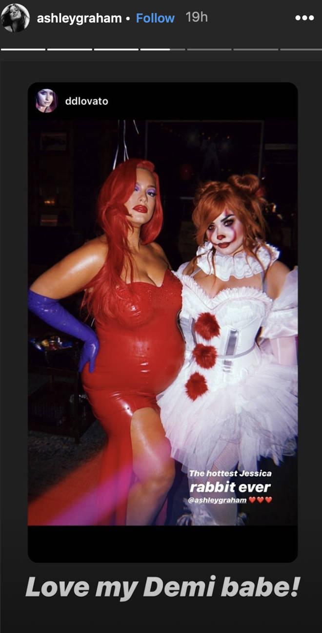 Ashley Graham attended Demi Lovato's Halloween bash
