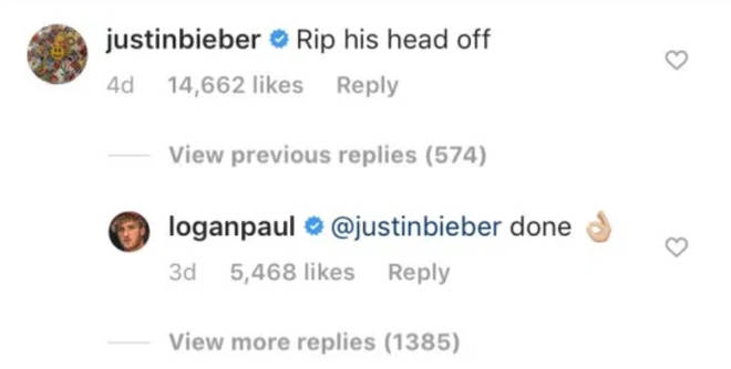 Justin Bieber wades in on Logan Paul and KSI match