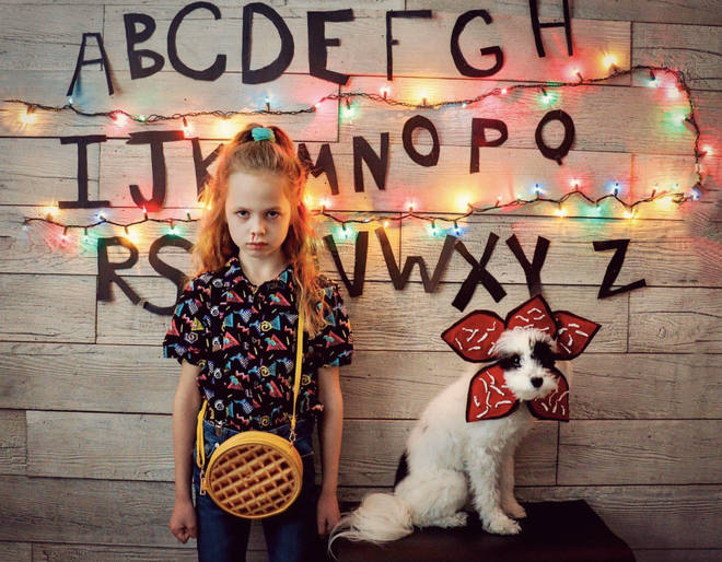 This Stranger Things fan and her dog dressed as Eleven and the demogorgon, of course