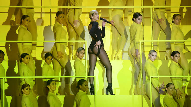 Dua Lipa performing at the MTV EMAs 2019