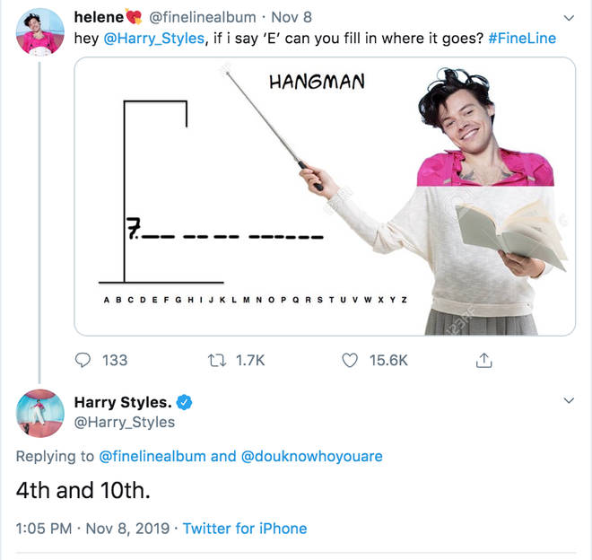 Fans play a game of 'hang man' to get more clues about Harry Styles's album