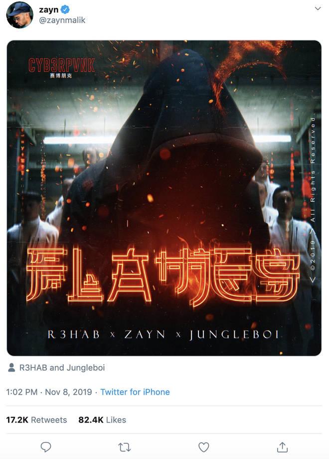 Zayn Malik teased his single 'Flames' on social media