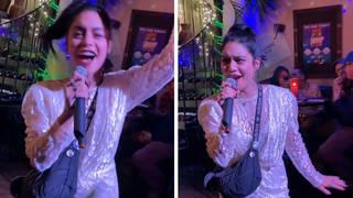 Vanessa Hudgens sang 'Breaking Free' at a karaoke bar