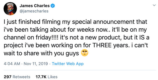 James Charles teased another huge announecment