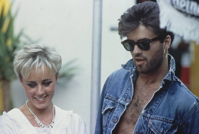 Roman's mum with his godfather, George Michael in 1986