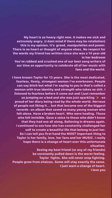 Selena Gomez posts statement regarding Taylor Swift's music feud