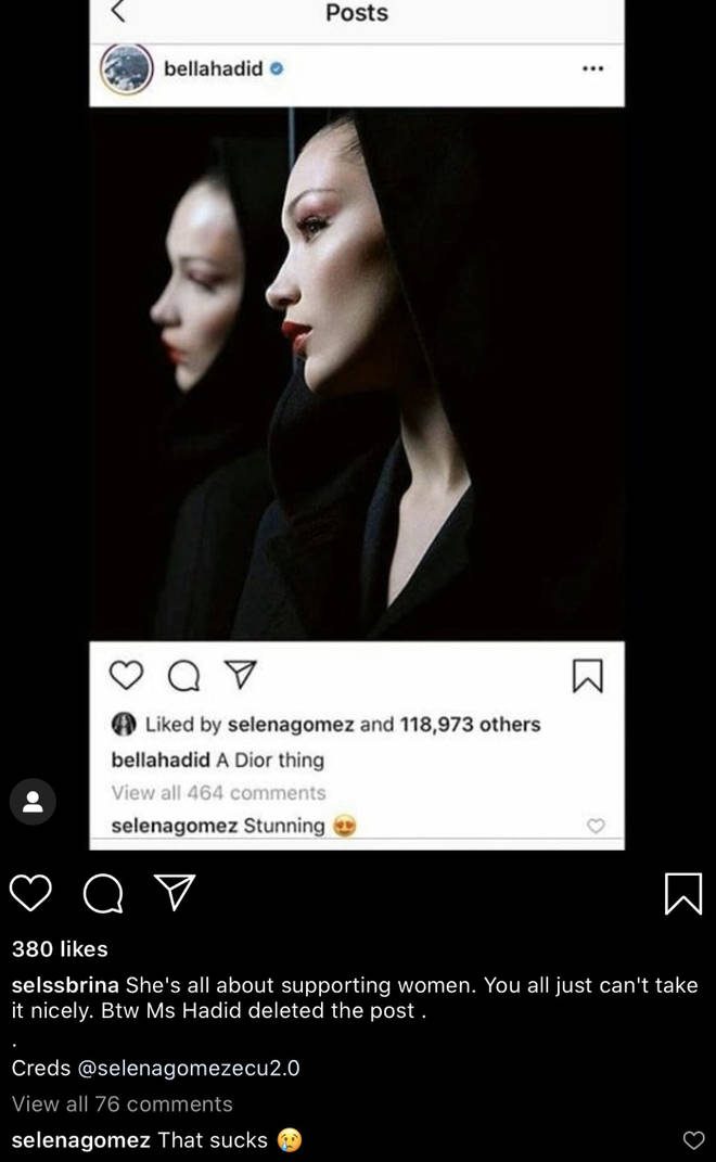 Bella Hadid deleted her photo after Selena Gomez commented on it