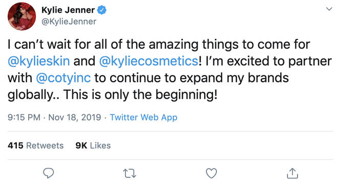 Kylie Jenner has sold 51% of her cosmetics company