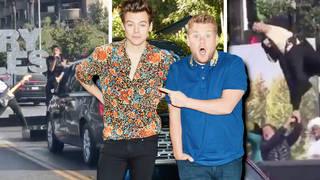 Harry Styles has been filming with James Corden in Los Angeles