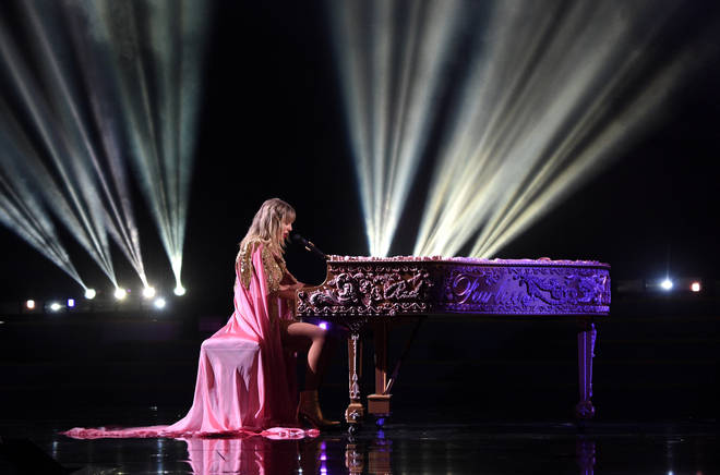 Taylor Swift also had her old album names etched into a grand piano
