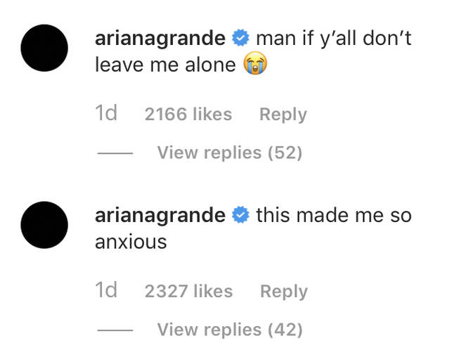 Ariana Grande replied to a meme about her on Instagram